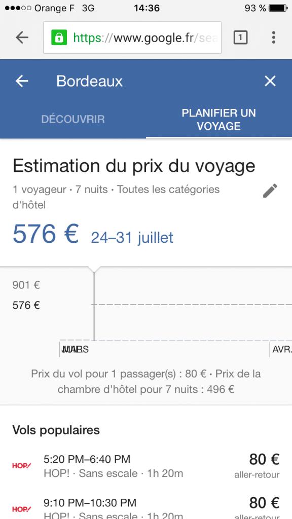 google destination planifier voyage