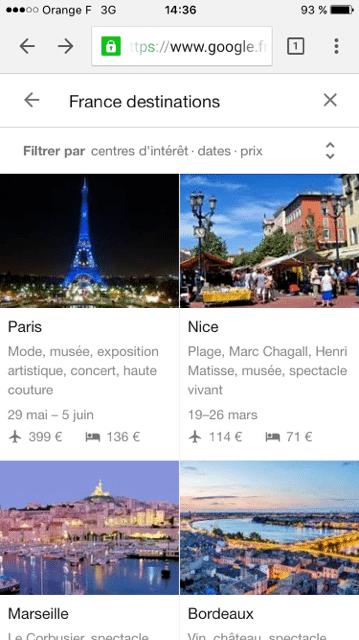 google destinations resultats de recherche